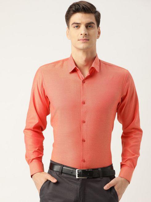 Sojanya (Since 1958), Men's Cotton Dark Peach Self Design Classic Formal Shirt