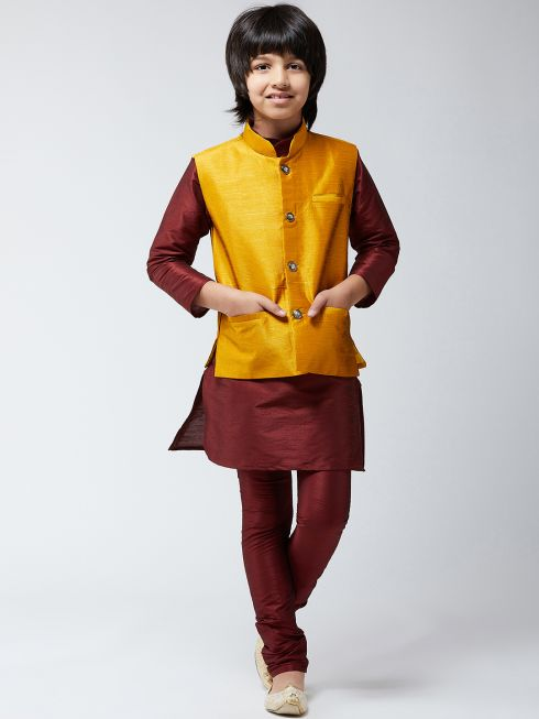 Sojanya (Since 1958), Kids Silk Blend Maroon Kurta Pyjama & Mustard Nehrujacket Set