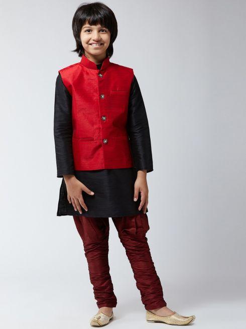 Sojanya (Since 1958), Kids Silk Black Kurta With Maroon Balloon Pant & Maroon Nehrujacket Set