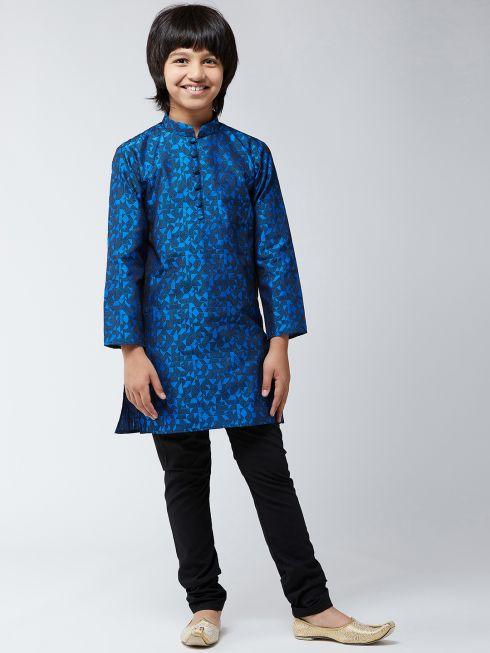Sojanya (Since 1958), Kids Silk Blend Blue Kurta & Black Churidar Pyjama Set