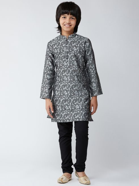 Sojanya (Since 1958), Kids Silk Blend Grey Kurta & Black Churidar Pyjama Set