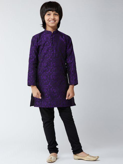 Sojanya (Since 1958), Kids Silk Blend Purple Kurta & Black Churidar Pyjama Set