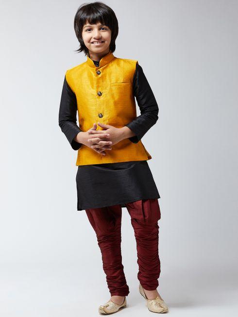 Sojanya (Since 1958), Kids Silk Blend Mustard ONLY Nehrujacket