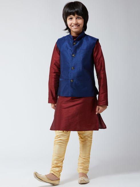 Sojanya (Since 1958), Kids Silk Blend Navy Blue ONLY Nehrujacket