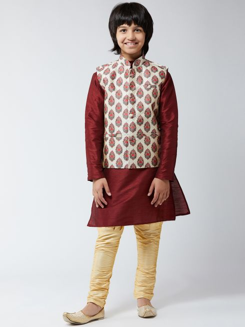 Sojanya (Since 1958), Kids Silk Blend Red Printed ONLY Nehrujacket