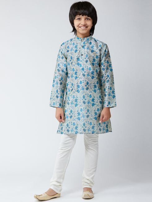 Sojanya(Since-1958),Kids Silk Blend Blue Print Kurta & Off-White Churidar Pyjama Set