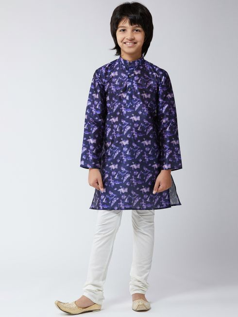Sojanya (Since 1958), Kids Silk Blend Navy Blue Print Kurta & Off-White Churidar Pyjama Set