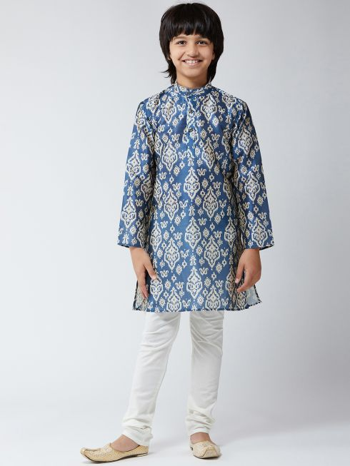 Sojanya (Since 1958), Kids Silk Blend Blue Print Kurta & Off-White Churidar Pyjama Set