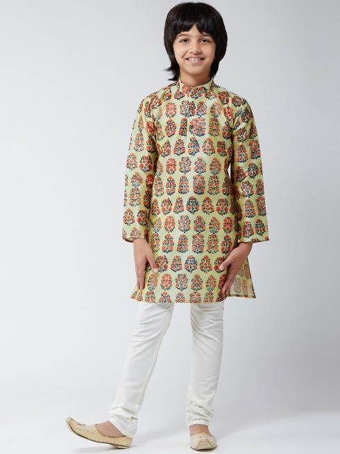 Sojanya (Since 1958), Kids Silk Blend Beige Print Kurta & Off-White Churidar Pyjama Set