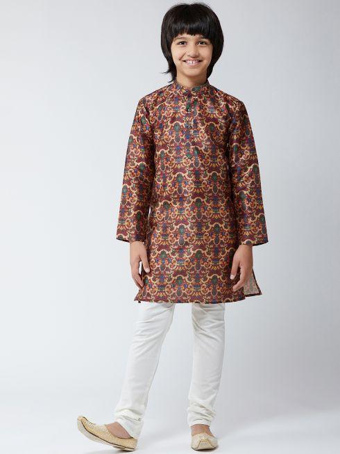 Sojanya (Since 1958), Kids Silk Blend  Maroon Print Kurta & Off-White Churidar Pyjama Set