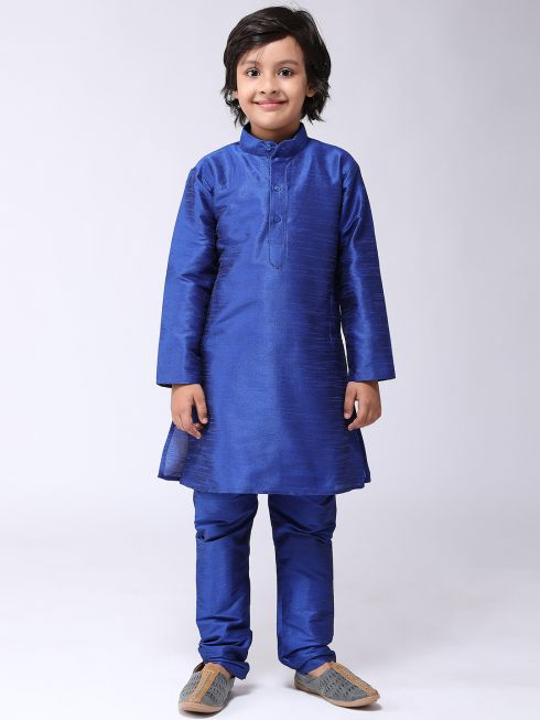 Sojanya (Since 1958), Kids Silk Blend Blue Kurta With Churidar Pyjama set