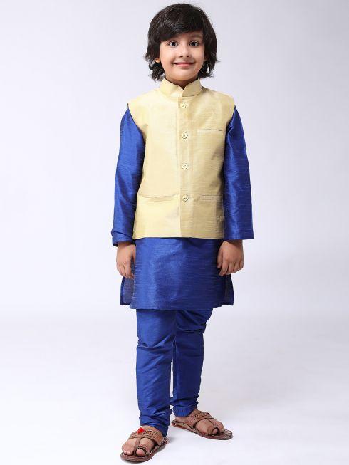 Sojanya (Since 1958), Kids Blue Silk Kurta With Churidaar Pyjama & Gold Nehru Jacket set