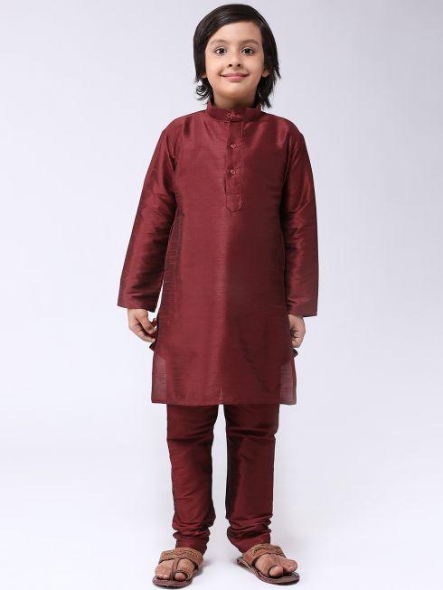 Sojanya (Since 1958), Kids Silk Blend Maroon Kurta With Churidar Pyjama set