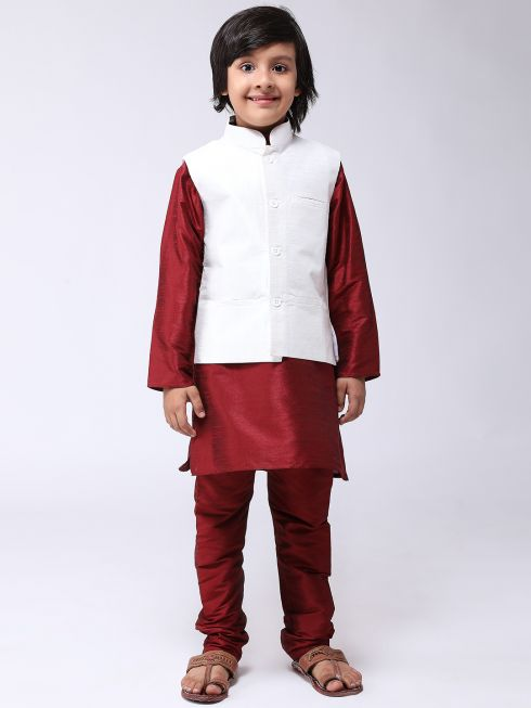 Sojanya (Since 1958), Kids Maroon Silk Kurta With Churidaar Pyjama & Cream Nehru Jacket set