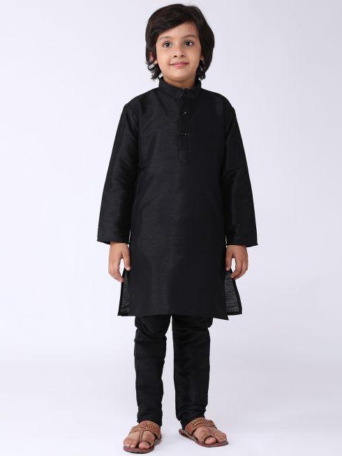 Sojanya (Since 1958), Kids Silk Blend Black Kurta With Churidar Pyjama set