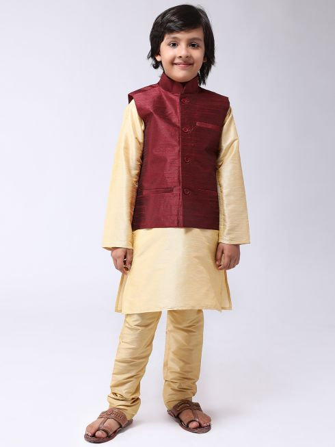 Sojanya (Since 1958), Kids Gold Silk Kurta With Churidaar Pyjama & Maroon Nehru Jacket set