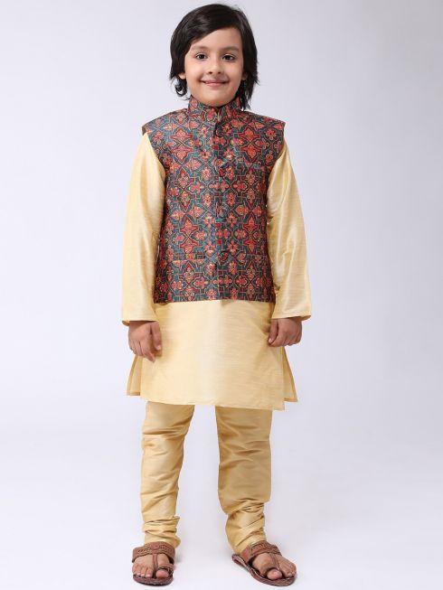 Sojanya (Since 1958), Kids Maroon Silk Kurta With Churidaar Pyjama & Printed Nehru Jacket set