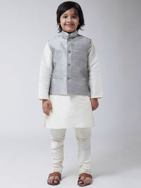 Sojanya (Since 1958), Kids Cream Silk Kurta With Churidaar Pyjama & Grey Nehru Jacket set