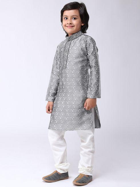 Sojanya (Since 1958), Kids Jacquard Silk Grey Kurta & Off White Churidar Pyjama set