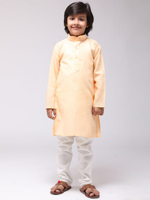 Sojanya (Since 1958), Kids Cotton Linen Yellow Kurta & Off-White Pyjama Set