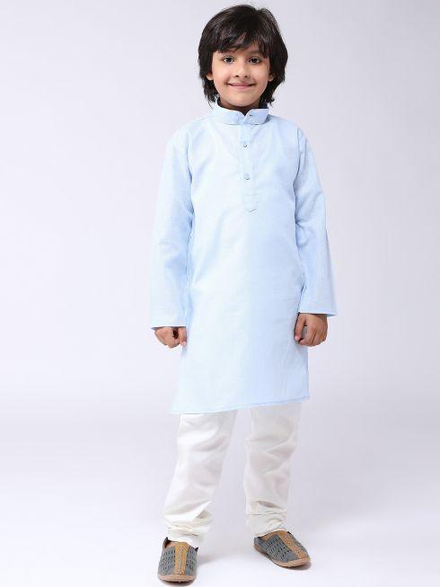 Sojanya (Since 1958), Kids Cotton Linen Blue Kurta & Off-White Pyjama Set