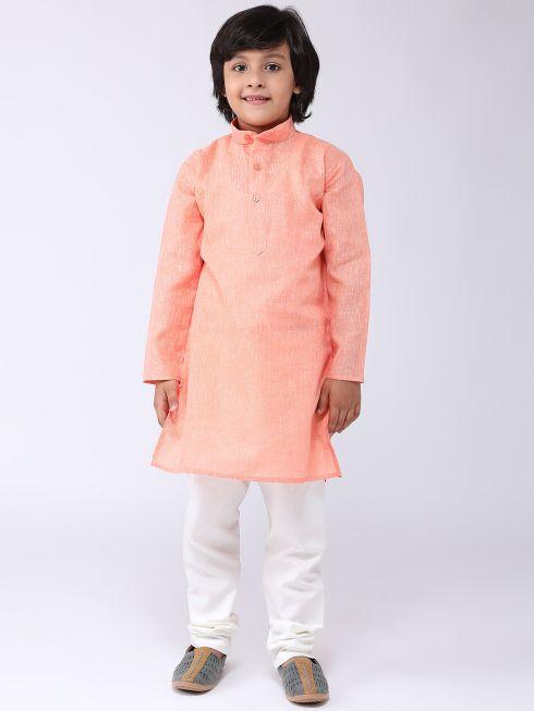 Sojanya (Since 1958), Kids Cotton Linen Orange Kurta & Off-White Pyjama Set