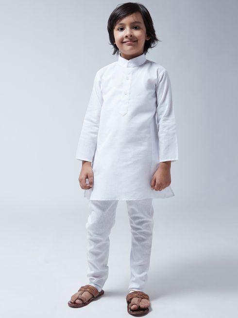 Sojanya (Since 1958), Kids Cotton Linen White Kurta With Churidaar Pyjama Set