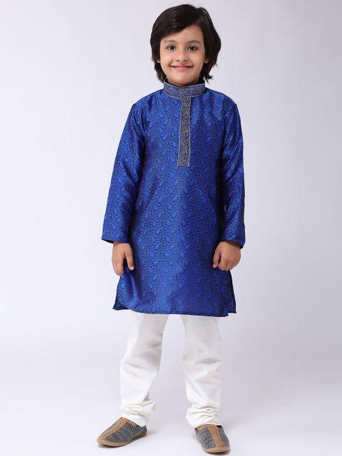 Sojanya (Since 1958), Kids Jacquard Silk Blue Kurta & Off White Churidar Pyjama set