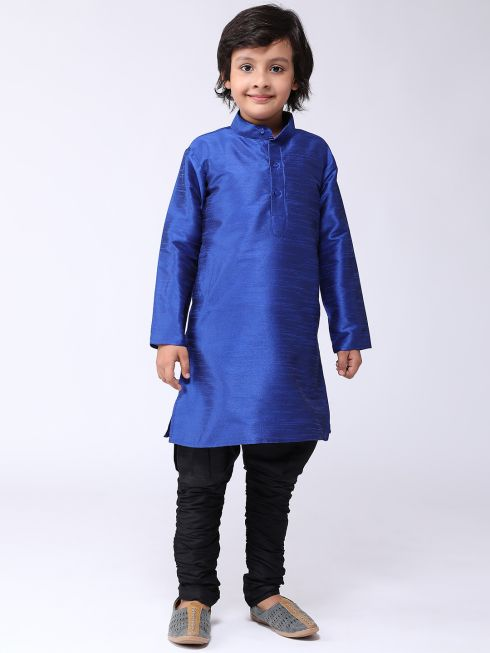 Sojanya (Since 1958), Kids Silk Blue Kurta & Black Balloon Pant Set