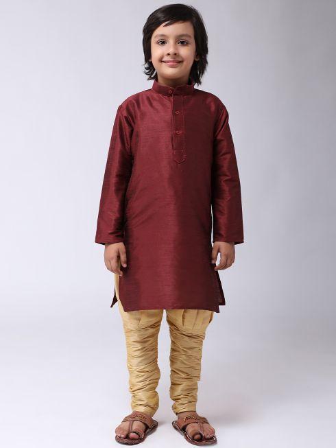 Sojanya (Since 1958), Kids Silk Maroon Kurta & Gold Balloon Pant Set