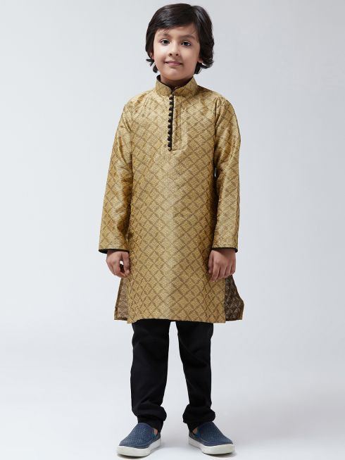 Sojanya (Since 1958), Kids Silk Blend Gold Kurta & Black Churidar Pyjama set