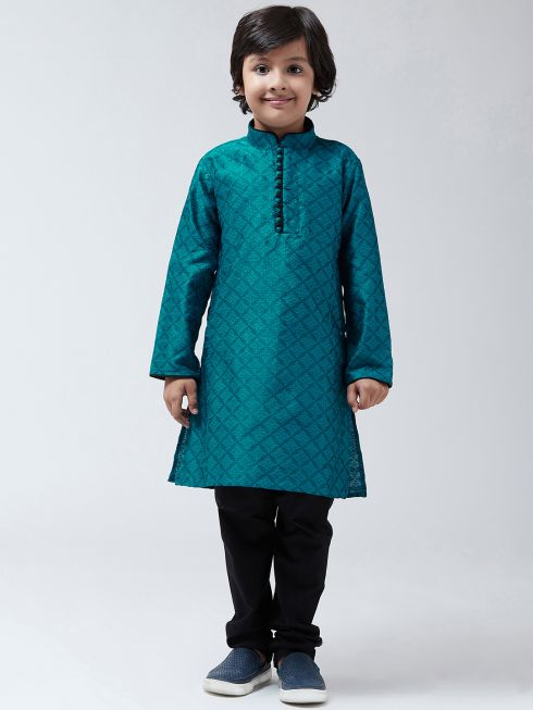 Sojanya (Since-1958), Kids Silk Blend Blue Kurta & Black Churidar Pyjama set
