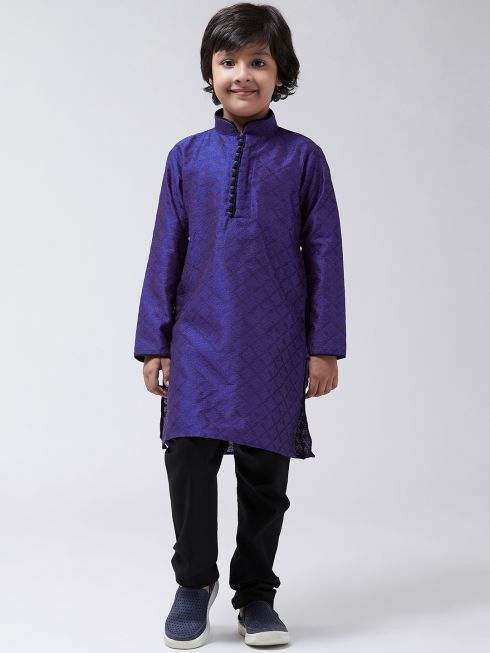 Sojanya (Since-1958), Kids Silk Blend Royal Blue Kurta & Black Churidar Pyjama set