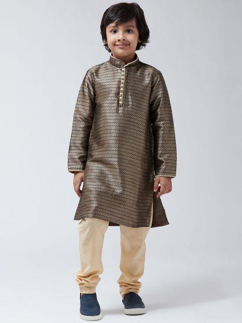 Sojanya (Since 1958), Kids Silk Blend Black Kurta & Beige Churidar Pyjama set