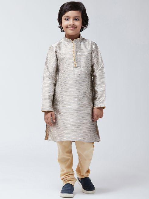 Sojanya(Since 1958),Kids Silk Blend Copper Kurta & Beige Churidar Pyjama set