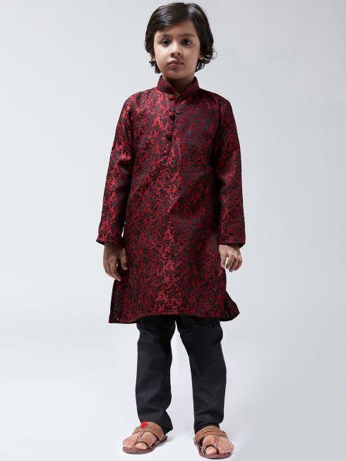 Sojanya-(Since 1958),Kids Silk Blend Maroon Kurta & Black Churidar Pyjama set
