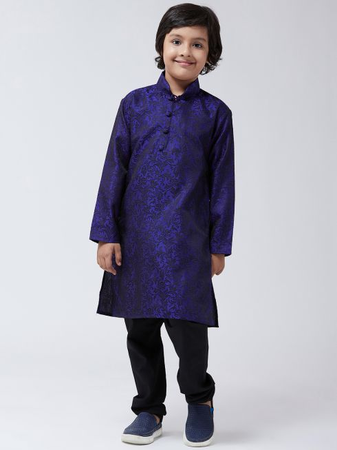 Sojanya (Since 1958), Kids Silk Blend Royal Blue Kurta & Black Churidar Pyjama set