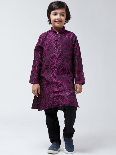 Sojanya-(Since 1958), Kids Silk Blend Purple Kurta & Black Churidar Pyjama set
