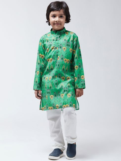 Sojanya(Since-1958), Kids Cotton Blend Green Kurta & Off-White Churidar Pyjama set