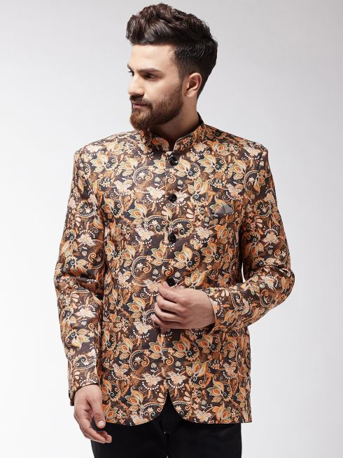 Sojanya (Since 1958) Men's Brown Floral Printed Blazer blazer