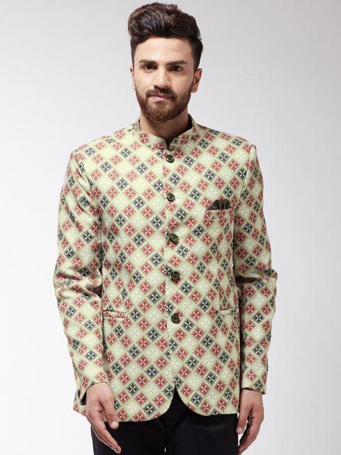 Sojanya (Since 1958) Men's Lime Green & Red Printed Blazer