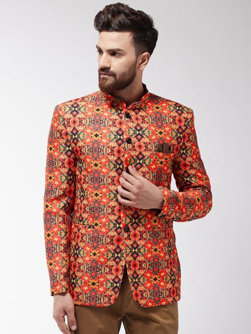 Sojanya (Since 1958) Men's Orange & Multi Geometric Printed Blazer