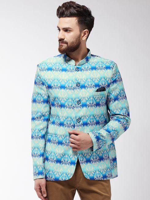 Sojanya (Since 1958) Men's Sky Blue & Multi Printed Blazer