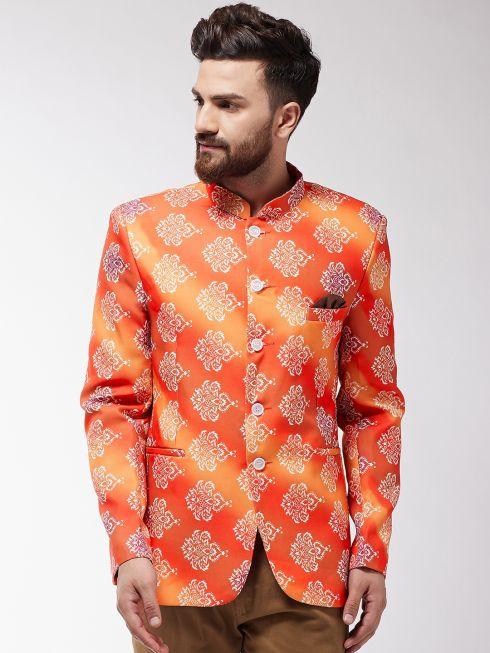Sojanya (Since 1958) Men's Orange & Off-White Printed Blazer