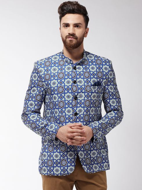 Sojanya (Since 1958) Men's Indigo Blue & Grey Printed Blazer