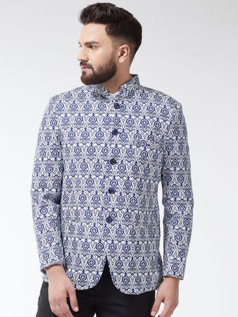 Sojanya (Since 1958) Men's Cotton Blend Rust & Beige Printed Blazer blazr