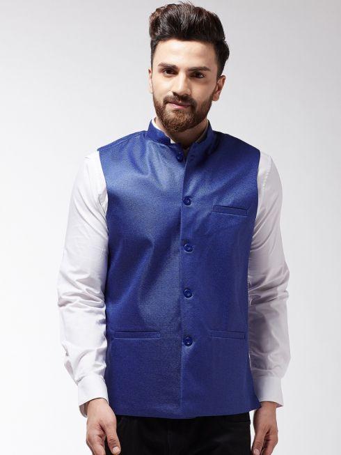 Sojanya (Since 1958) Men's Jute Cotton Royal Blue ONLY Nehrujacket