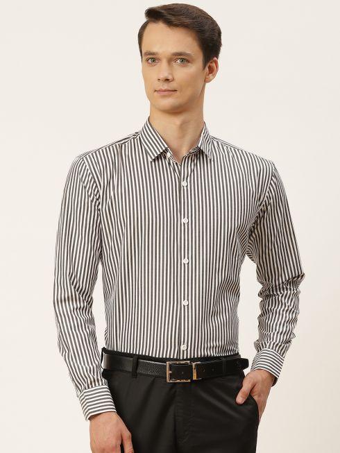 Sojanya (Since 1958), Men's Cotton Black & White Striped Formal Shirt