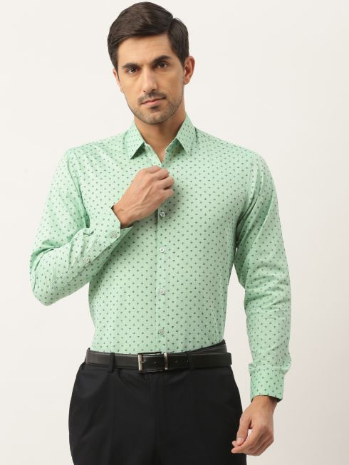 Sojanya (Since 1958), Mens Cotton Green & Black Printed Formal Shirt