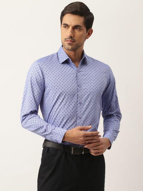Sojanya (Since 1958), Mens Cotton Blue & Black Printed Formal Shirt